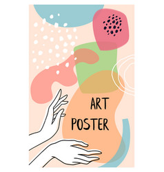 cute hand drawn shapes poster with hands drawing vector image