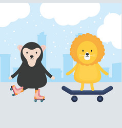 cute skater lion with monkey in skates childish vector image
