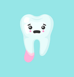 Cystic tooth with emotional face cute colorful vector