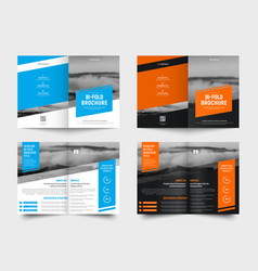 design a white and black bi-fold brochure with vector image