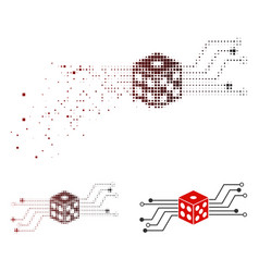 Disappearing dotted halftone digital dice circuit vector
