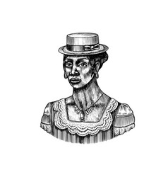 elegant woman in hat afro american lady vector image