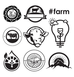 Farm house concept logo emblem vector