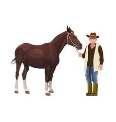 farmer holding a horse vector image