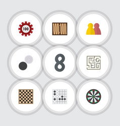 flat icon entertainment set of gomoku chequer vector image