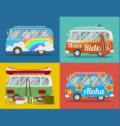 Four hippie vans vector