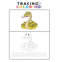 Funny anaconda snake animal tracing and coloring vector