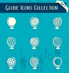Globe icons retro collection vector image