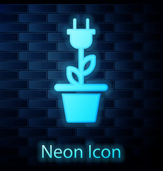 glowing neon electric saving plug in pot icon vector image