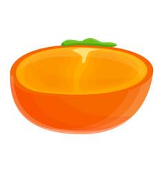 Half persimmon icon cartoon style vector