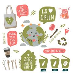 hand drawn elements zero waste in vector image