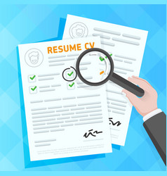 Hand examining resume forms vector