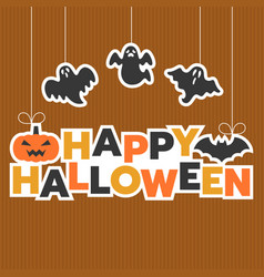 happy halloween hanging headline with ghost vector image