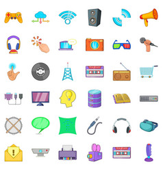 Hardware widget icons set cartoon style vector