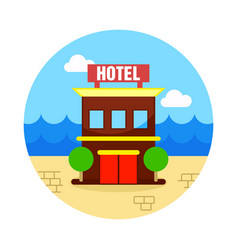 Hotel icon summer vacation vector
