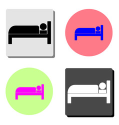 hotel room bed flat icon vector image