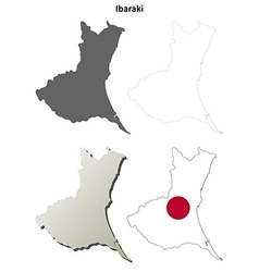 Ibaraki blank outline map set vector