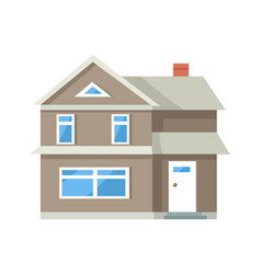 Icon of three storey house of grey color with door vector