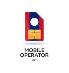 Laos mobile operator sim card with flag vector