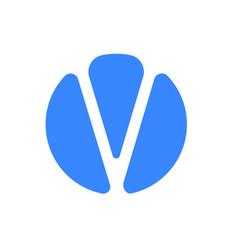 letter v logo modern blue font icon vector image