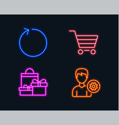 Loop shopping and market sale icons support sign vector
