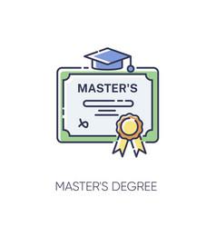 Masters degree rgb color icon vector