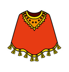 mexican poncho isolated icon vector image