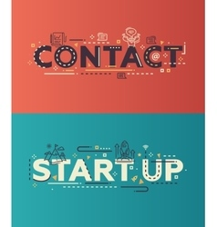 Modern flat design Contact Start Up lettering vector