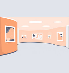 Museum exhibition with modern artworks art gallery vector