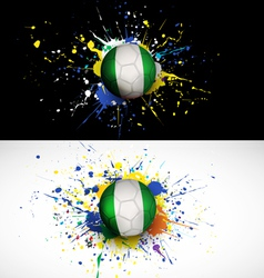 Nigeria flag with soccer ball dash on colorful vector image