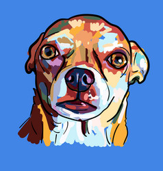 painting of funny face of chihuahua dog on blue vector image