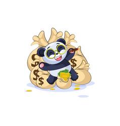 panda lies happy on bags of money vector image