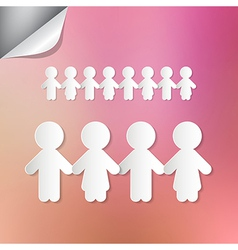 Paper People Holding Hands on Pink Background vector image