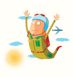 Parachutist in action vector