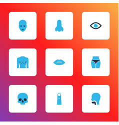 Part icons colored set with eye breast lips and vector