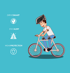 People in bicycle drive safely campaign vector