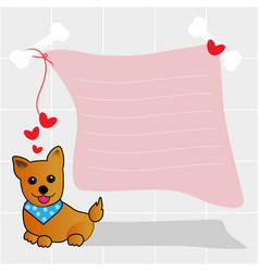 Pet dog with heart and text box vector