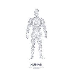 polygonal hand drawing human body vector image
