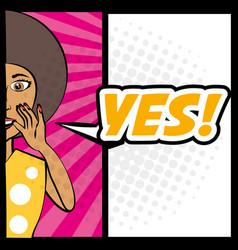 pop art woman yes talking vector image