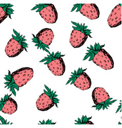raspberry seamless pattern on white vector image