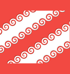 red ribbon with an ornament on the edges vector image
