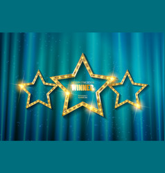 retro light sign three gold stars vector image