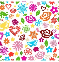 seamless pattern multicolored flowers vector image