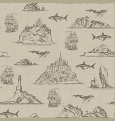 Seamless pattern with hand-drawn islands and vector