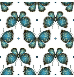 Seamless white pattern with butterflies vector