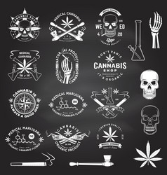 set medical cannabis badge label with skull vector image