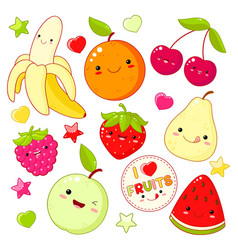 set of cute sweet fruit icons in kawaii style vector image