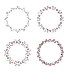 Set of four ornate round vintage frames vector image