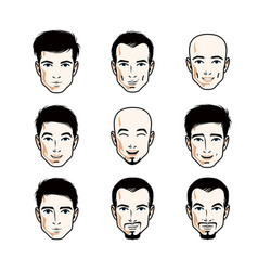 set of men faces human heads different characters vector image