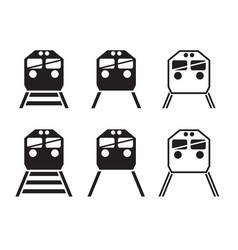 Set of train icon in silhouette vector